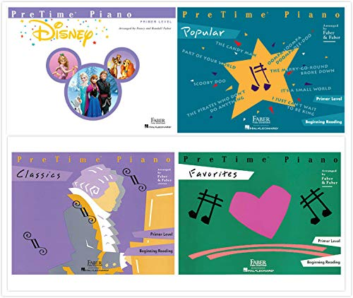 Faber Piano Adventures PreTime Piano Primer Level Books Set (4 Books) - Disney, Favorites, Classics, Popular ()