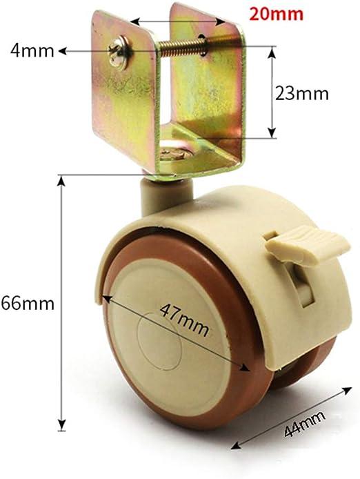 PVC giratoria de Goma con Freno//Soporte en Forma de U muda//Accesorios de Marco de Planta de Cuna 20 mm // 22 mm // 25 mm Ruedas para Muebles /× 4