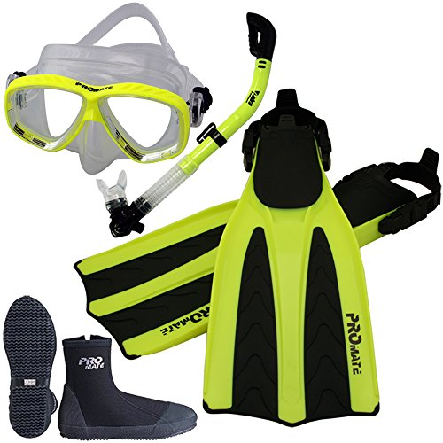 Promate Scuba Dive Fins Boots Dry Snorkel Mask Gear Set, Yellow, Mens 9/Womens 10 (Fins Snorkel Boots)