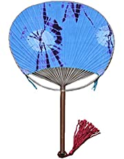 Asian Style Cotton Fabric Print Decor Bamboo Handle Round Summer Fan -Blue,A1