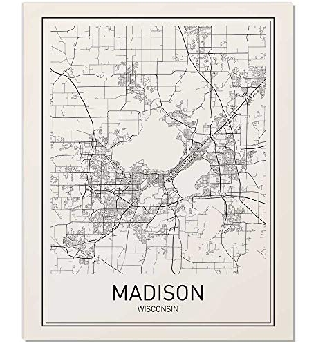 son Map, Map of Madison, City Map Posters, Madison Map Print, Wisconsin Map, Minimalist Poster, Scandinavian Poster, Black and White, Map Wall Art, Map Art, 8x10 ()