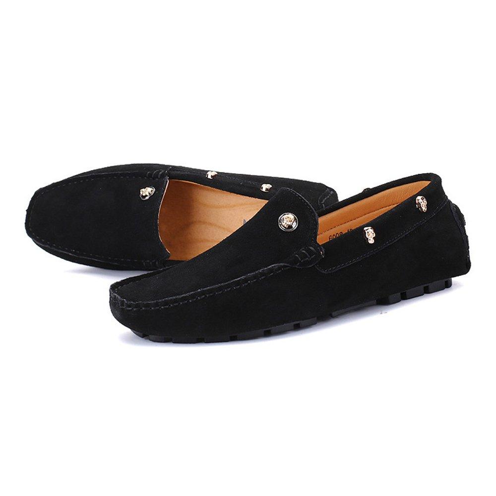 Xiaojuan-schuhe, Herren Echtes Leder Penny Loafers Driving Dekor, Mokassins Weiche Sohle Schädel Dekor, Driving (Farbe : Marine, Größe : 44 EU) Schwarz 88a96a
