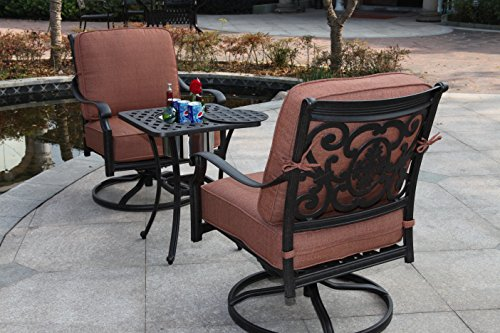 Darlee St. Cruz 3-Piece Club Rocker Chair Set with Seat, Back Cushions and 21-Inch End Table with Ice Bucket Insert, Antique Bronze