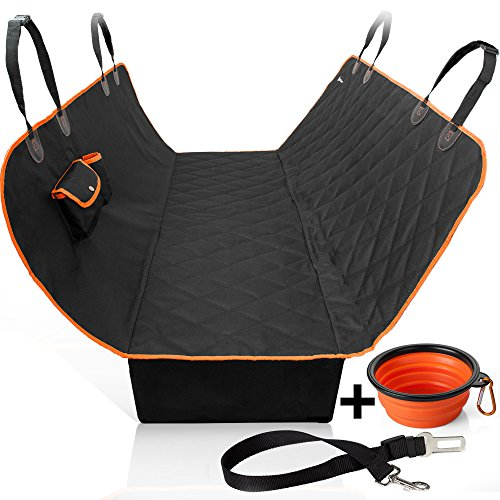 Dog Seat Cover - Car Seat Cover for Dogs with Slide Flaps - Waterproof - Nonslip Backing - Hammock Convertible