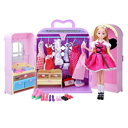 Techecho Miniature with Furniture Toy Closet Wardrobe Princess Furniture with Clothes Shoes Bags Cosmetics Fashions and Accessories Party Ball Gown Outfits for Barbie Dolls -