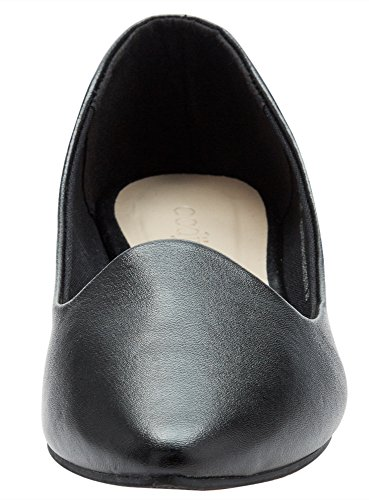 oodji Collection Damen Kunstleder-Ballerinas Basic Schwarz (2900N)