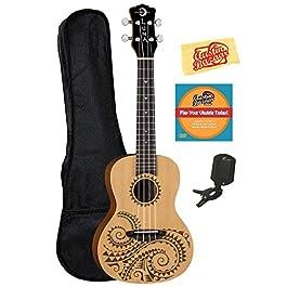 Luna Guitars Tattoo Spruce Concert Ukulele Bundle with Gig Bag, Tuner, Austin Bazaar Instructional DVD and Polishing…