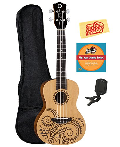 Luna Tattoo Spruce Concert Ukulele Bundle with Gig Bag, Tuner, Austin Bazaar Instructional DVD, and Polishing Cloth