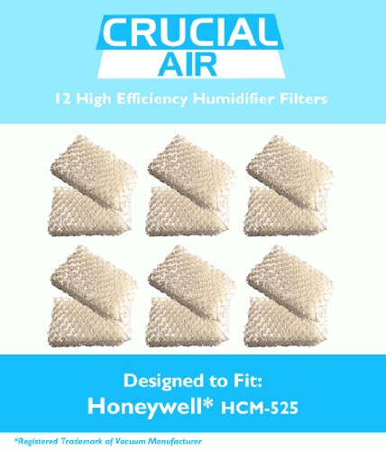 12 Honeywell HCM-525 Humidifier Replacement Wick Filters; Fits Part # D13C, AC-813, AC813, AC 813, D13-C, D13C, D13 C, D13, D-13; Designed & Engineered by Crucial Air