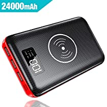 Power Bank ,24000mAh Wireless Battery Bank QI Portable Charger High Capacity with Digital Display LCD Screen, 3 USB Output & Dual Input, External Battery Pack for All the Smartphones,MP3,Tablet,Camera and other USB racharge device…