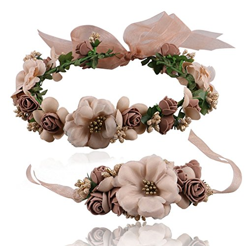 Brown Floral Band - beauty YFJH Flower Wreath Crown Floral Headband Wrist Band Set Garland Halo For Wedding Festivals (Brown)