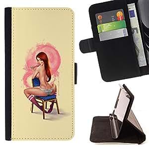 - Queen Pattern FOR Samsung Galaxy S5 Mini, SM-G800 /La identificaci????n del cr????dito ranuras para tarjetas tir????n de la caja Cartera de cuero cubie - sexy pin up girl redhea