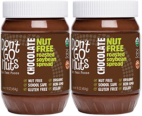 Don't Go Nuts Nut-Free Non GMO Organic Roasted Soybean Spread, Chocolate, 2 Count