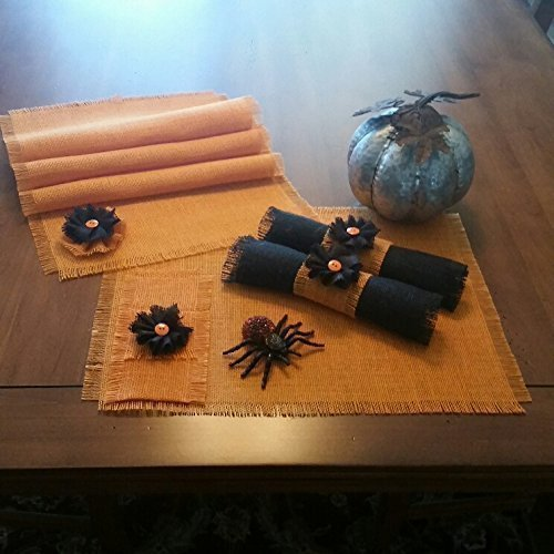 burlap halloween orange black table runners placemats silverware holders napkin rings and