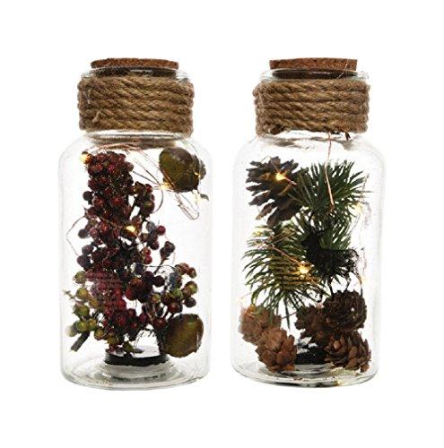 Decoris 955734 Christmas Led Jar with Pinecones/Berries, Glass, Brown