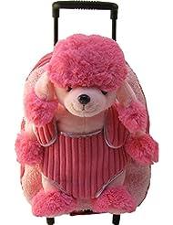 Poodle Pink Roller Kids Plush Animal Roller Backpack