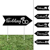Big Dot of Happiness Black and White - Arrow Wedding and Reception Directional Signs - Double Sided Outdoor Yard Sign - Set of 6