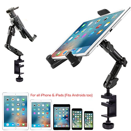 ChargerCity Heavy Duty Aluminum Alloy Pole/Bar Mic Microphone cymbal Stand Tablet Smartphone Holder Clamp Mount for Apple iPad Pro 12.9 Air Mini iphone X 8 7 Plus Samsung Galaxy Tab S8 S9 Surface Pro