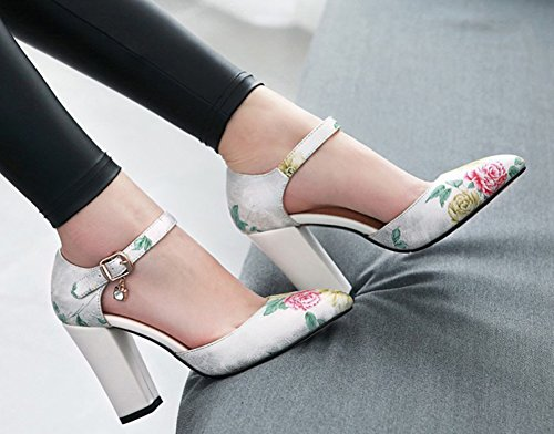 Boucle Mode Multicolore Escarpins Aisun Avec Fleurs Femme Blanc Yq5wU