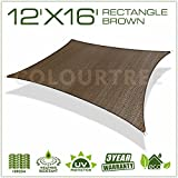 ColourTree 12' x 16' Sun Shade Sail Canopy  Rectangle Brown - Commercial Standard Heavy Duty - 160 GSM - 4 Years Warranty (5)