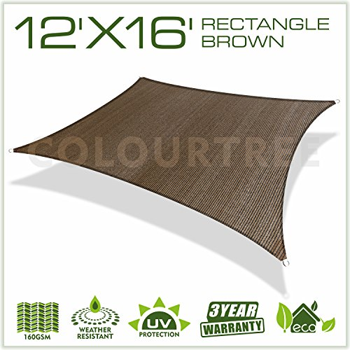 Colourtree 12' x 16' Brown Sun Shade Sail Canopy UV Block Rectangle - Commercial Standard Heavy Duty - 160 GSM - 4 Years Warranty - CUSTOMIZED SIZE AVAILABLE