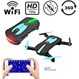 Mini WIFI RC Drone with Camera 2MP HD Camera Live Video Foldable Selfie RC Drone Pocket Altitude Hold Helicopter WIFI Drone Camera 720P HD MINI Drone