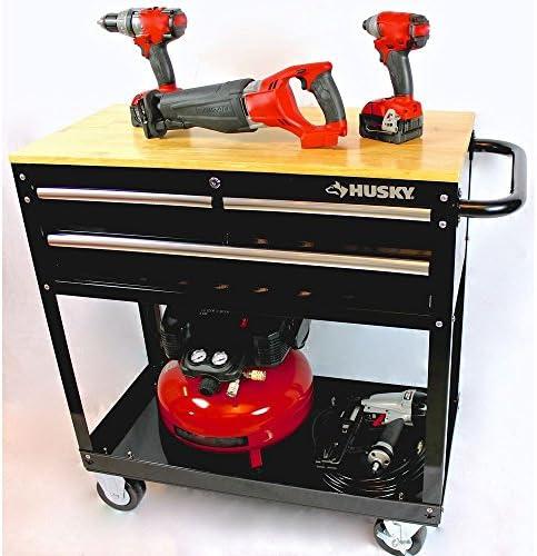 [해외]Husky 36 in. 3-Drawer Rolling Tool CartWood Top Black / Husky 36 in. 3-Drawer Rolling Tool CartWood Top Black