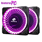 Asiahorse Solar Eclipse MIRAGE 32LED 120mm Cooling PC Compute custom Quiet case fan 2PACK(PURPLE)