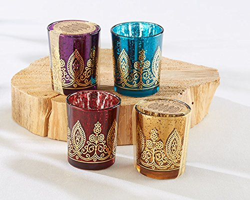 Kate Aspen 64 Jewel Tone Colored Mercury (Sapphire, Amethyst, Ruby, Citrine) Glass Indian Jewel Henna Tea Light Votive Holder Wedding Thank You Gifts Baby Bridal Shower Party Souvenir Favors]()