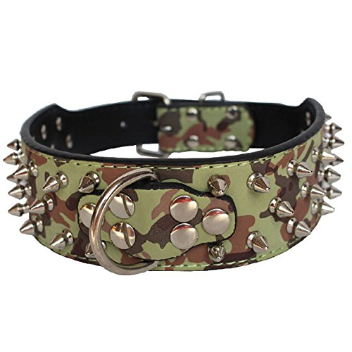 """Avenpets 3 Rows Spiked Rivet Studded Metals Buckle D-Ring Adjustable Leather Bull Terrier Collar for Daily Activities,Camouflage,M:(neck 19-22"""")"""