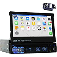 Backup Camera + 2GB 7 Single Din Android 6.0 Car DVD Player with Bluetooth GPS Navigation Car Stereo Radio Receiver Detechable Panel Pop-out Touch Screen with WiFi Subwoofer Audio/Video output