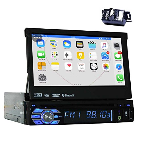 Backup Camera + 2GB 7'' Single Din Android 6.0 Car DVD Player with Bluetooth GPS Navigation Car Stereo Radio Receiver Detechable Panel Pop-out Touch Screen with WiFi Subwoofer Audio/Video output (Din 1 Dvd Player Car)