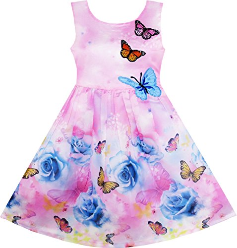 HX93 Girls Dress Rose Flower Print Butterfly Embroidery Purple Size -