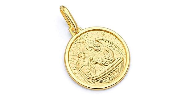 Wellingsale 14K Yellow Gold Polished Diamond Cut Religious Communion Charm Pendant