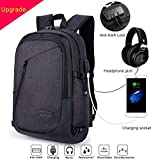 ERAY Laptop Backpack, Business Anti Theft Backpacks with USB Charging Port and Headphone Port fits 15.6 Inch Backpack for Men & Women (B-Black)