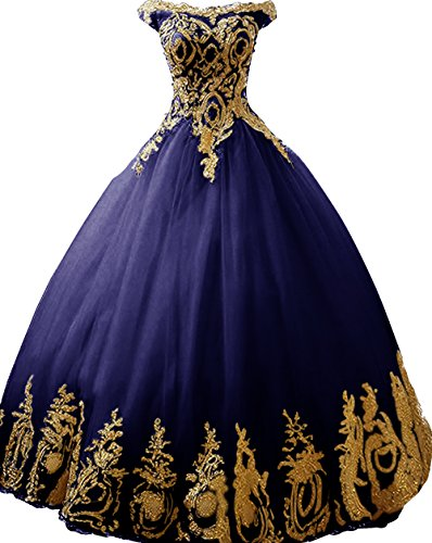 - BessDress Gold Lace Appplique Quinceanera Dresses Strapless Prom Ball Gown BD389
