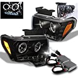 2009-2014 Ford F-150 Halo LED Projector Headlights with 50W 6000K HID Conversion Kit - Black