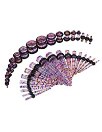 36 Pieces Taper Kit Glitter Rainbow Tapers with Glitter Rainbow Plugs Sparkle Stretching Kit - 18 Pairs