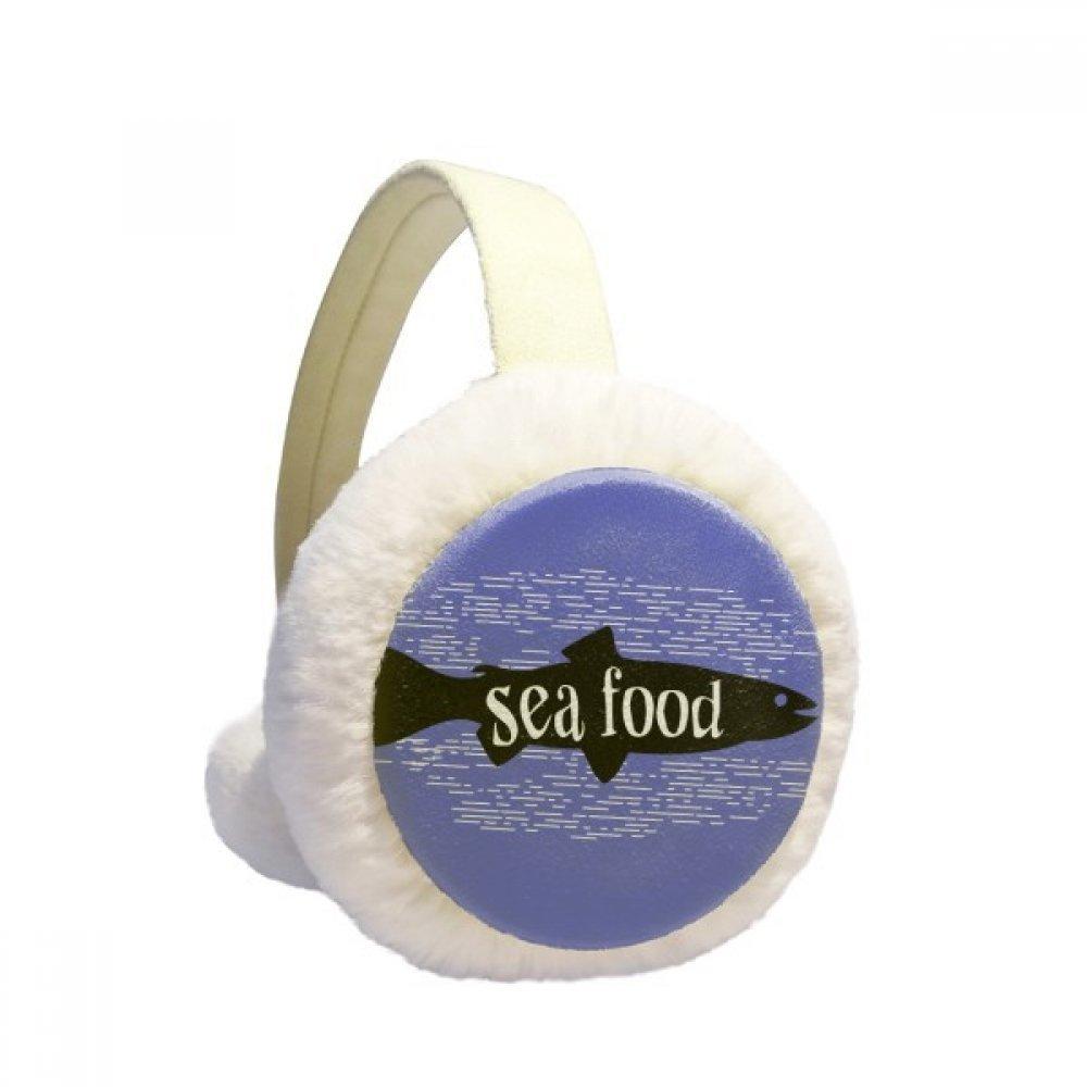 Black Animal Fish Silhouette Natural Winter Earmuffs Ear Warmers Faux Fur Foldable Plush Outdoor Gift