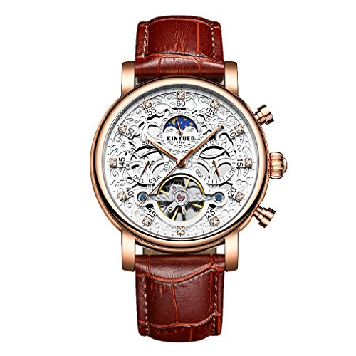MagiDeal KINYUED Men's Automatic Mechanical Watch Rose Gold Alloy Case and Brown Leather Strap Casual Watch