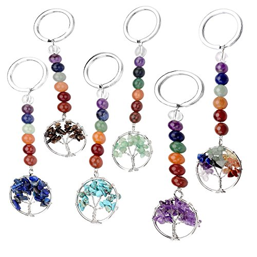 Agate Leaf Pendant Bead - Top Plaza 7 Chakra Natural Gemstone Handmade Tree of Life Pendant Keychain Reiki Healing Crystal Beads Keyring for Best Friends Friendship Couple Family(6 Pcs)