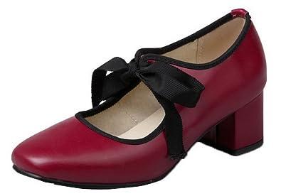 e486279c228acb AgooLar Damen PU Rein Schnüren Schließen Zehe Mittler Absatz Pumps Schuhe