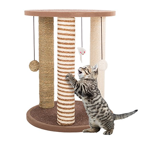 PETMAKER Cat Scratching Posts- Adult Cat and Kitten Tree, 3 Large Scratching Poles, Carpeted Base Play Area and Perch, Furniture Scratch Deterrent (Post Perch)