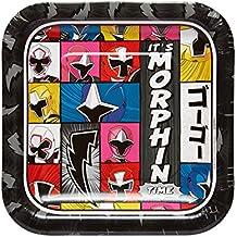 """American Greetings Power Rangers Ninja Steel 8 Count Dessert Square Plate, Black, 7"""""""