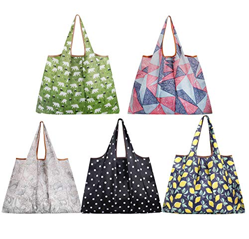 (Reusable Grocery Bags,5 Pack Eco Friendly Large Shopping Bags Heavy Duty Foldable and Washable Nylon Tote Bag for Foods)