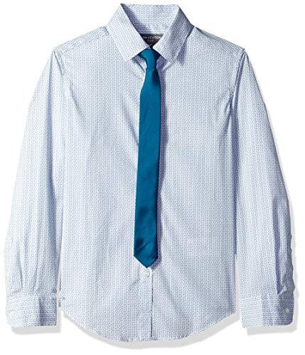Van Heusen Boys' Big Long Sleeve Dress Shirt and Tie Set, True Green, L14/16