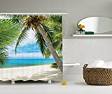Bathroom Theme Sets Nature Shower Curtain Ocean Decor by Ambesonne, Shadow Shade of a Coconut Palm Tree on Sand View Picture Theme, Polyester Fabric Bathroom Set with Hooks, Ivory Blue Green Turquoise, 69 x 70 Inch Long
