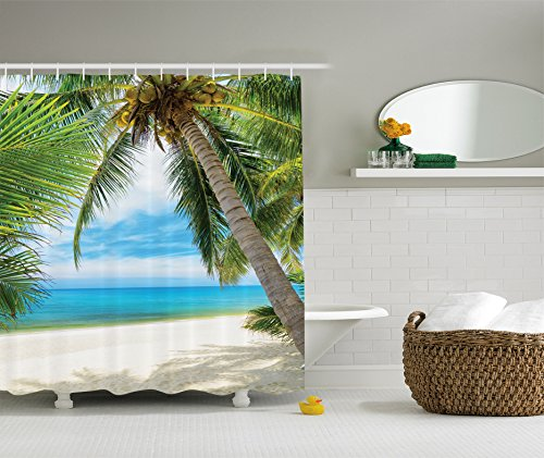 Extra Long Shower Curtain Ocean Decor by Ambesonne, Shadow Shade of a Coconut Palm Tree on Sand View, Fabric Bathroom Shower Curtain Set with Hooks, 84 Inches Extra Long, Ivory Blue Green Turquoise