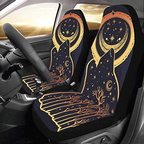 Wolf Car Mats - InterestPrint Front Car Seat Covers 2 pcs Wolf Vehicle Seat Protector Polyester Cloth Fabric Mat Covers Auto Seat Cushion Universal Fit Most Cars Sedan Truck SUV Van for Women Men