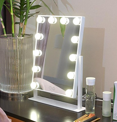 Large Makeup Mirror Touch Screen With 12 Big Led Bulbs